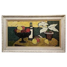 Bernet - Still Life of Fruits - 1960s French Oil painting