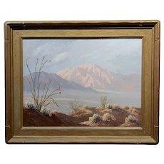 John William Hilton -California Desert Landscape in Bloom  - Oil painting