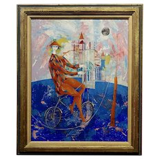 Luciano Spazzali - Harlequin Acrobat on a Venetian Landscape- Oil painting
