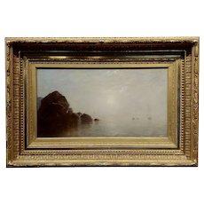 John Bunyan Bristol - Fog over Long Island NY - 19th century Oil painting