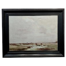 John Stanton -Clam digging in a California Beach -19th century Oil Painting