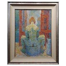 Manuel De Arce - Nude Female in Lavatory - Pointillism Oil painting
