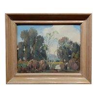 Walt Lee -Eucalyptus Trees in La Crescenta-California Impressionist-Oil painting
