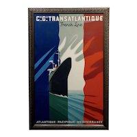 French Line Transatlantique - Beautiful Art Deco Poster by Paul Colin