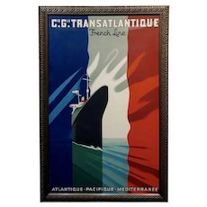 French Line Transatlantique - Beautiful Art Deco Poster by Paul Colin