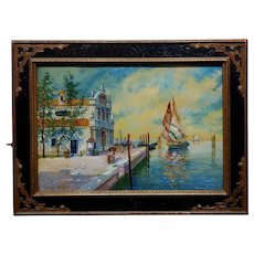 S.R. Torello - Beautiful Venetian Scene-19th century Painting