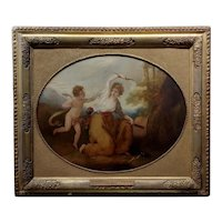 Cupid & a Godess - 18th century Neoclassical oil painting