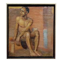 Erle Loran -Portrait of a Young African American Man- Oil painting