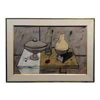 Charles Levier - Still Life on the kitchen Table -Oil painting c1960s