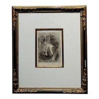 Armand Berton - Mother & Child-Original Etching -Signed -c1900