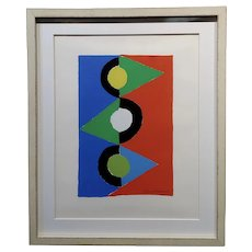 Sonia Delaunay-  -triangles colorés -1959 signed lithograph