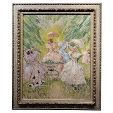Women w/ Parasols having Breakfast at the Park-French Oil painting c1910s