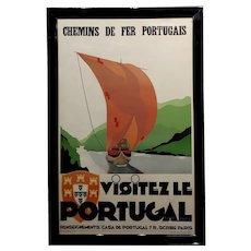 Visitez Le Portugal -1937 Original Art Deco French Advertising Poster