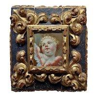 Amorino - 17th century Italian oil painting of a Cherub