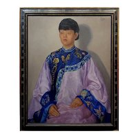 Dorothy McVey Cother -Portrait of a Chinese Woman wearing a Silk dress-Oil painting