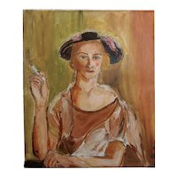 Marcel Gromaire -Woman Smoking a Cigarette-Double sided Oil Painting-1930s