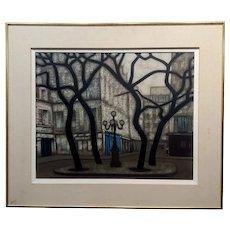 Jean-Yves Couliou -Place Furstenberg,Paris-Mid century Oil painting -c1950s