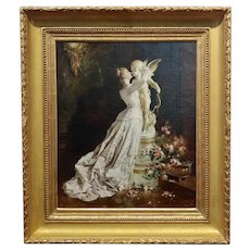 Jules-Elie Delaunay -Young Lady kissing Cupid -19th century Oil painting