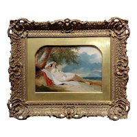 William Etty -Nude Female Reclined on a Seashore-19th century oil painting