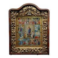 18th century Large Russian Icon in mahogany Shadow Box -c1780s