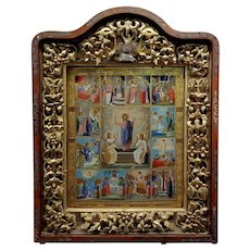 18th century Large Russian Icon in mahogany Shadow Box -c1780s