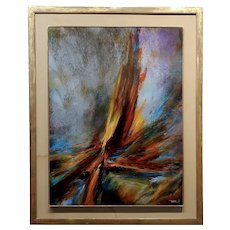 Leonard Nierman - Bird of Fire in the wind - Abstract Oil painting -c1967