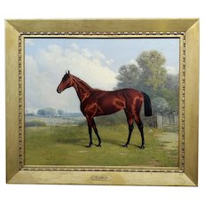 Henry Stull -Portrait of a Champion Race Horse-19th century Oil painting
