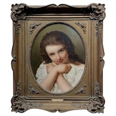 Alexandre François Caminada -Portrait of a Beautiful Young Girl -19th century oil painting
