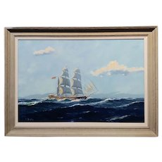 William Hughes - American Ship at Sea -Oil painting