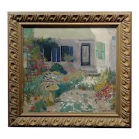 J. A. Fontan -The House w/the Garden of Flowers-Impressionist Oil painting