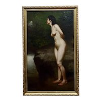 John George Brown - Nude Female in a Wooded Landscape- 19th century oil painting