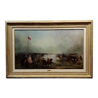 John Lewis Brown -19th century French North African Cavalry Battle -Oil painting