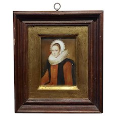 Ida Calzolari - Portrait of a 16th century Aristocratic Woman w/Ruff Collar - Painting