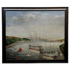 J.H. Tayler - HMS Implacable-19th century Naive British Naval Oil painting