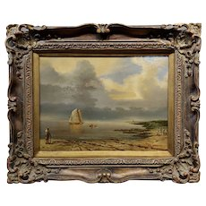 J. Brown - Tranquil Seashore scene w/ human activities - Oil painting
