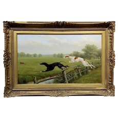 Thomas Blinks -Greyhounds chasing a Rabbit -19th century English oil painting