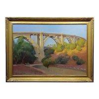 Arthur Bjorn Egeli -The Pasadena Suicide Bridge - Impressionist OIl painting