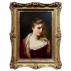 Gustave Jean Jacquet -Portrait of an Elegant young Lady- 19th century Oil painting
