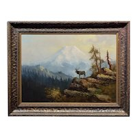 The Lonely Elk on Mount Shasta - 19th century Oil painting