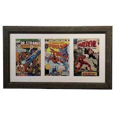 DR. Strange Spider Man & Daredevil Original Vintage comics covers -Framed