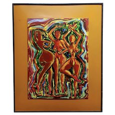 Three Sexy black Women dancing -1960s Nude Abstract Oil painting