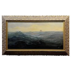 1920s Angel Espoy Seascape with Sail Ship on the Horizon - Oil painting