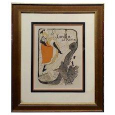 Henry de Toulouse-Lautrec Jane Avril Jardin de Paris -Original 1895 Lithograph