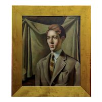 1930s Portrait of a Young Man American Regionalism -OIl painting by G. Hilton