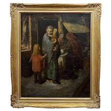 Claude Buck -1940s Stranded Family with children-Regionalist Oil painting