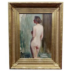 Emil Fuchs 1915 American Impressionist Portrait of a Nude Female Back -Oil painting