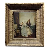 Alfred De Dreux 19th century Elegant Woman in a French Interior -Oil painting