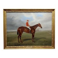 Benjamin Cam Norton 1883 Horse Galliard w/Jockey Fred Archer-Oil painting