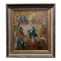 17th century Italian Old Master-Madonna surrounded by Saints -Oil painting
