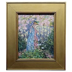 Manner of Frederick Frieseke Woman w/Parasol in Cherry Blossom Garden